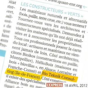 article paru dans l'Express Avril 2012